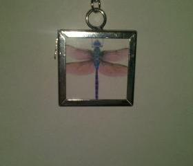 Reversable Dragon Fly Silver Frame Pendant